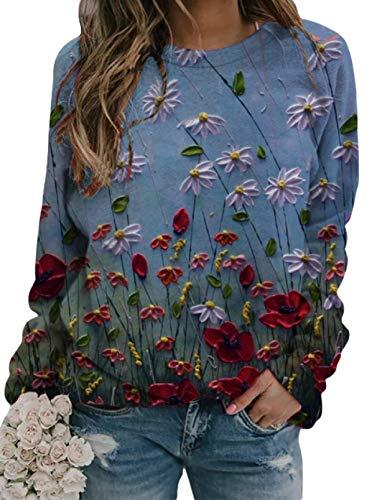 Pullover de Cuello Redondo Camiseta Deportiva Femenina Dandelion impresión cómoda Camiseta de Manga Larga Camiseta Ligera