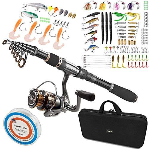 PLUSINNO Telescopic Fishing Rod and Reel Combo, 102Pcs Fishing Lures Baits Tackle