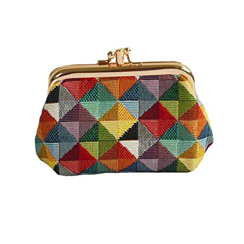 Signare Tapestry Cute exquisite Double Pocket Kiss lock Coin Purse for Women with Colourful Geometric Shapes Design (FRMP-MTRI)