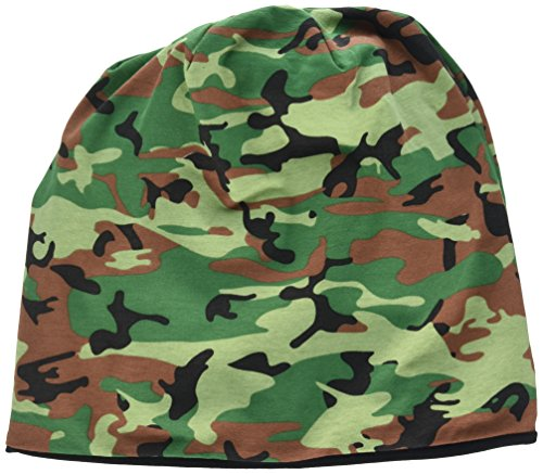 MSTRDS Printed Jersey Beanie, Green Camo/Black, one size