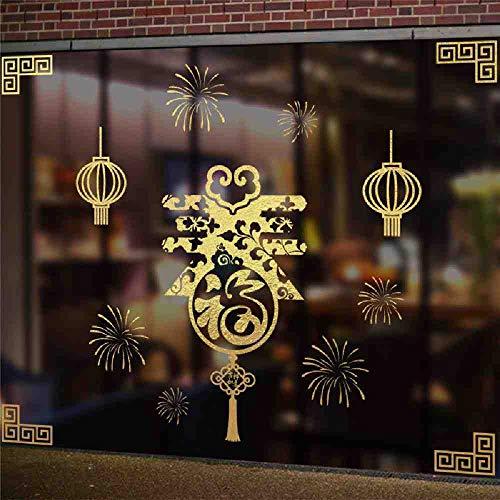 JPDP Glück Laterne Chinesischen Frühlingsfest Papier-Schnittmuster Wandtattoos Wohnkultur Schaufenster Neujahr Wandaufkleber Pvc Wandbild Kunst