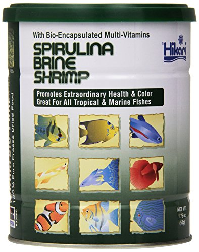 Hikari Bio-Pure Freeze Dried Spirulina Brine Shrimp Cubes for Pets, 1.76-Ounce