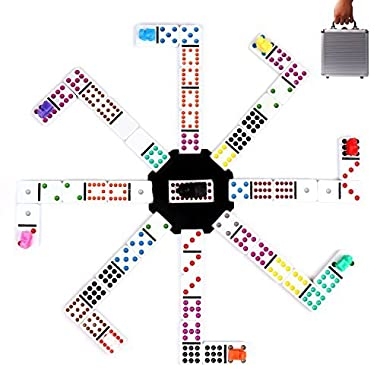 Mexican Train Dominoes Game, KAILE 91 Tiles Double 12 Color Dominoes Set for Kids Dominoes Game with Aluminum Case Instructions