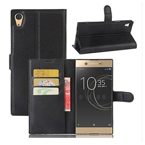 COPHONE® Funda de Cuero Negro Sony Xperia XA1. Funda Protectora Funda Monedero Negro Sony Xperia XA1. Carcasa Magnético Xperia XA1