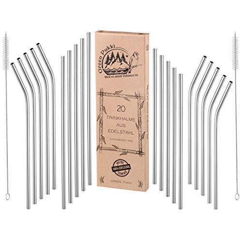 Green Pukki® Edelstahl Strohhalm wiederverwendbar - 20 Stück in 4 praktischen Variationen + 2 Reinigungsbürsten extra lang - angenehmes Mundgefühl - Metall Strohhalm 6 mm