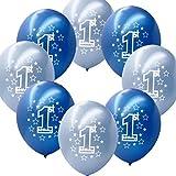 Fontee® 20 piezas 12 globos primer cumpleaños decoraciones Baby Shower niño globos de látex nacarados impresos, azul/azul claro