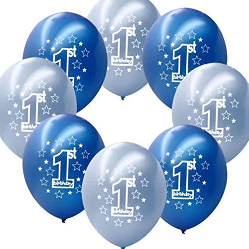 Fontee® 20 Stück 12'' Junge 1. Geburtstag Luftballons Geburtstagparty Dekoration Luftballons baby shower decorations bedruckte perlierte Latexballons,Blau/Hellblau