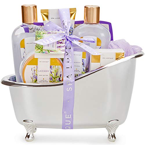 Spa Luxetique Gift Baskets for Women, Lavender Bath Set, Valentines Day Gifts for Women, Luxury 8 Pcs Home Gift Basket Includes Body Lotion, Bath Bombs, Bubble Bath, Best Gifts for Women Birthday.