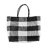 COOFIT Einkaufstasche Geflochten mit Henkeln - Strandtasche Einkaufskorb Shopper Geflochten aus...