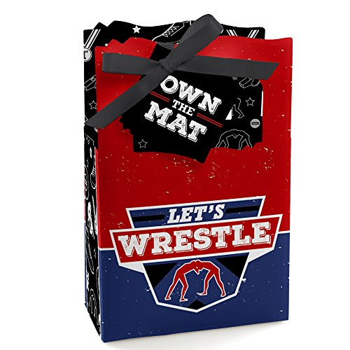 Big Dot of Happiness Own the Mat - Wrestling - Birthday Party or Wrestler Party Favor Boxes - Set of 12