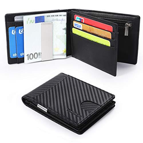 DISEÑO MINIMALISTA: el diseño ultra delgado de la billetera se ajusta perfectamente en el bolsillo delantero o en el bolsillo del pantalón. Mide a 11 x 8,5 x 1,8 cm para que no abarque demasiado su bolsillo. ESPACIO MÁXIMO: acomoda hasta 11 tarjetas,...