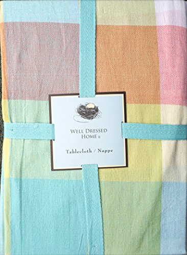 Well Dressed Home Fabric Tablecloth Pastel Spring Easter Tablecloth Pink Blue Green Yellow Orange Large Squares Plaid Pattern - 60 Inches by 84 Inches