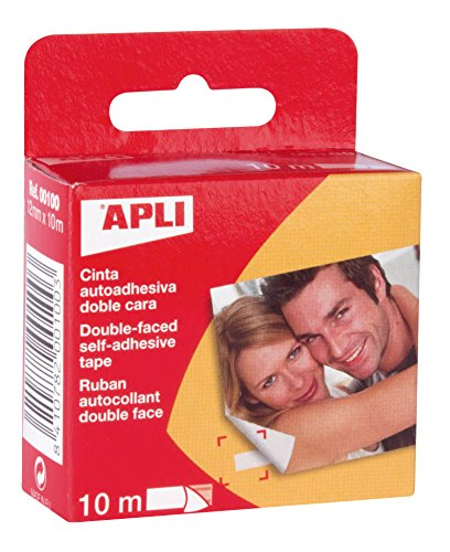Apli- Ruban adhésif Double Face, 00100, Transparent, 12 mm x 10 m