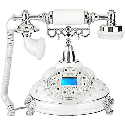 KQJH Teléfono Retro De Estilo Europeo, Teléfono Fijo con Cable, FSK/DTMF Identificador De Llamadas De Sistema Dual, para Hogar/Oficina/Hotel Estrella/Galería De Arte, Etc.