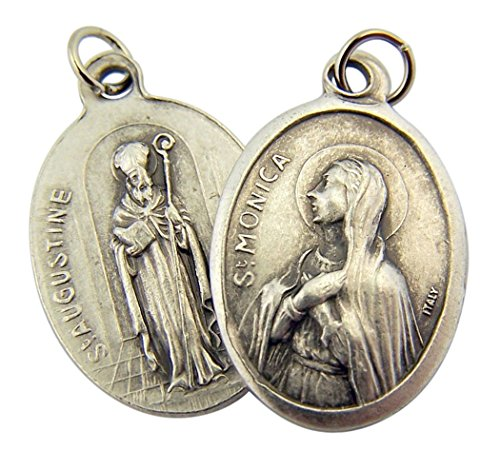 WJH Silver Toned Base Saint Monica with St Augustine Medal Pendant, 1 Inch