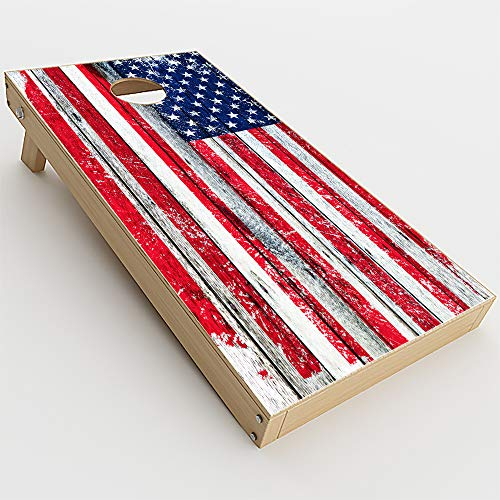 Skin Decals Vinyl Wrap for Cornhole Game Board Bag Toss (4 pcs.) Includes Dry Erase Marker and Scoreboard | US Flag Distressed Wood Plank