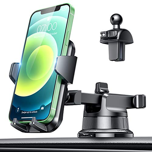 [2021 Upgraded Patented Sticky Suction Cup] VANMASS Universal Car Phone Mount, Safety Cert Easy Clamp Dash Windshield Vent Phone Holder for Car, Compatible iPhone 12 11 SE Xs XR X, Galaxy s20 10 9