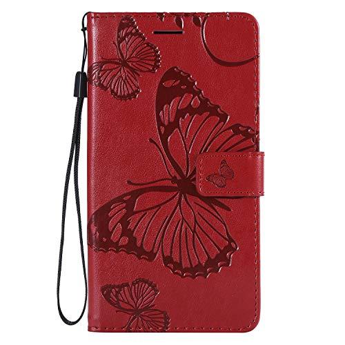NEXCURIO [LG X Power 2] Hülle Leder, Handyhülle Tasche Leder Flip Case Brieftasche Etui mit Kartenfach Stoßfest Kratzfest Schutzhülle für LG X Power2 (LGM320N) - NEKTU13983 Rot
