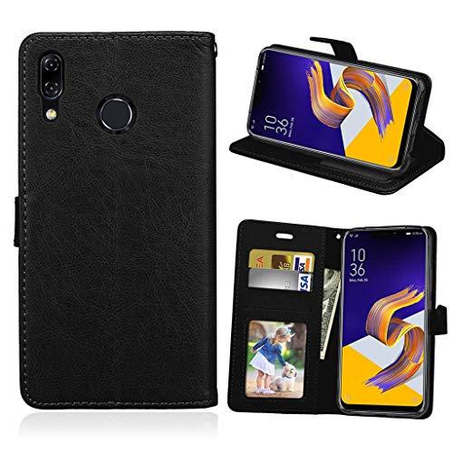 Asus Zenfone 5 2018 Hülle, SATURCASE Glatt PU Lederhülle Magnetverschluss Brieftasche Standfunktion Tasche Schutzhülle Handyhülle Hülle für Asus Zenfone 5 ZE620KL/Zenfone 5z ZS620KL (Schwarz)