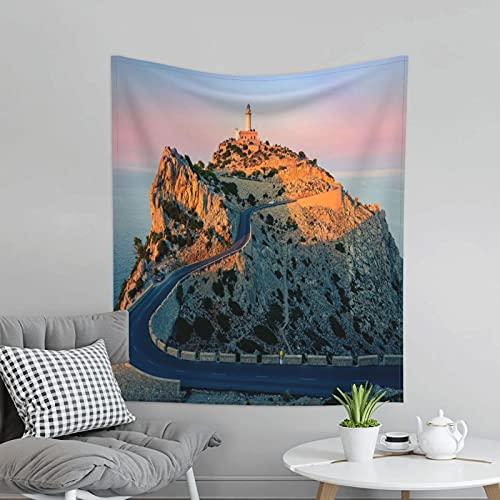 Mallorca Sunset Lighthouse Sea Hermosa Naturaleza Tapices Wall Art para Dormitorio Sala de estar Decoración de pared Tapiz para colgar en la pared al aire libre Picnic Mat 60 X 51 pulgadas