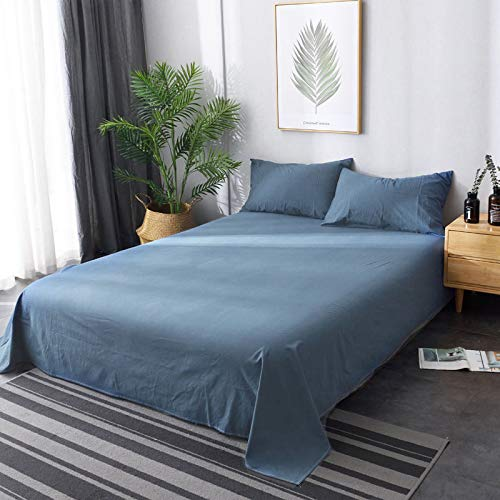 Sábanas japonesas de algodón Lavado, sábanas Suaves y agradables para la Piel + Fundas de Almohada colchas Lisas, sábanas Familiares Azules y Grises 2.5 * 2.4 Metros + Fundas de Almohada * 2
