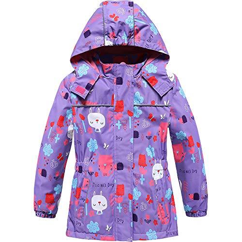 TOZEYSAN Girls Rain Jacket with Fleece-Lined Lightweight Breathable Windbreaker (Purple, 8T)
