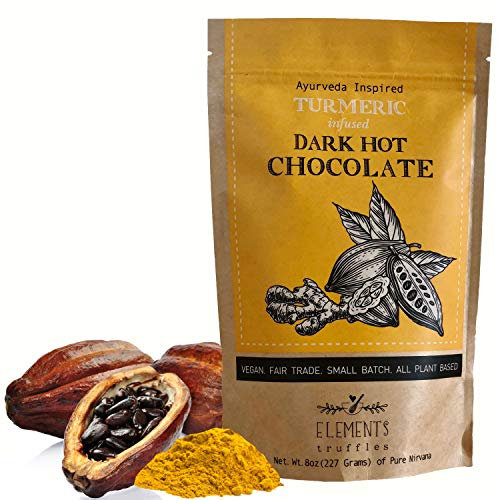 Elements Truffles Turmeric Infused Dark Hot Chocolate - All-Natural, Handmade, Small-Batch Dark Hot Chocolate Mix - Uses Ecuadorian, Fair Trade, Organic Cacao Powder - Vegan Hot Cocoa Mix - 8 Ounces