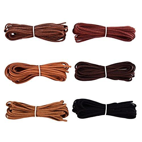 3 mm x 5 m de Cuerda de Cuero para Pulsera Collar Fabricación de Bisutería y Abalorios Manualidades Artesanía, 6 Piezas, 6 Colores