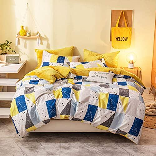 Riyyow Juego de edredón 100% algodón, cálida y acogedora colección de Ropa de Cama Ultra Suave Reversible, Cubierta de colchas y 2 Fundas de Almohadas y 1 Cama. (Color : Blue, Size : King)
