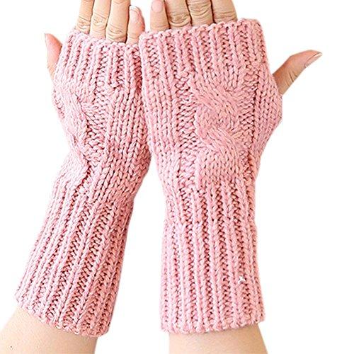 Song Knitted Mitten Fingerless Winter Soft Arm Warm Solid Crochet Short Gloves (Pink)