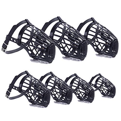 7-teiliges Maulkorb aus Kunststoff mit Ledergürtel, atmungsaktiv, bequem, glatter Maulkorb für Hunde, verstellbare Maulkorb-Masken, Hunde-Trainingsmundabdeckung aus Netzgewebe, Schwarz