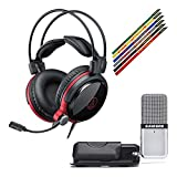 Audio-Technica ATH-AG1X Closed Back Gaming Headset Bundle with Samson Go Mic Portable USB Condenser Microphone and Velcro Cable Ties