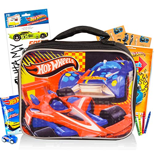Toys Hot Wheels Lunch Box Travel Activity Set ~ Insulated Hot Wheels Lunch Bag with Hot Wheels Coloring Pack, Games,, Stickers, and More for Boys Girls Kids (Hot Wheels School Supplies Bundle)
