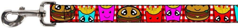 Buckle-Down Dog Leash Burger Fries Cartoon 6 Feet Long 1.0 Inch Wide
