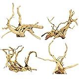 Cuasting Acuario madera natural reptil rama pecera árbol planta tocón adorno decoración 4 piezas