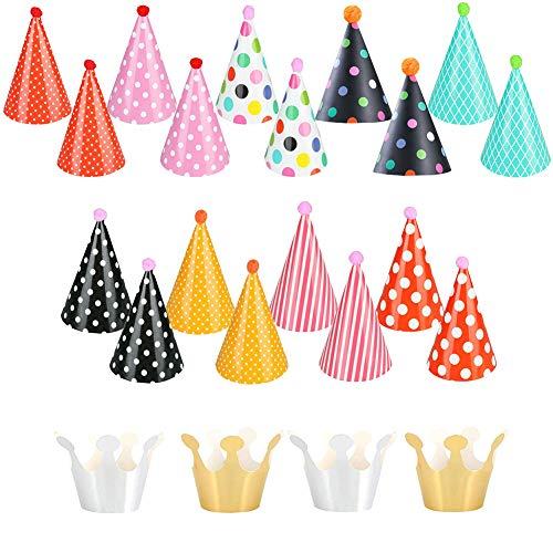 Shinelee 22 Stück Partyhüte Kindergeburtstag Papier Kegel Hüte mit Pompons Geburtstag Party Partyhütchen Krone Partyhut Kinder Erwachsene