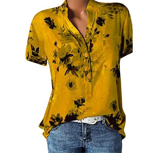JIER Damen Bedruckte Kurzarmbluse V-Ausschnitt Blumendruck Lose Strand Tunika Tops Mode Pullover Hemdbluse Sommer Tshirt Tasche Plus Size Hemd (Orange,X-Large)