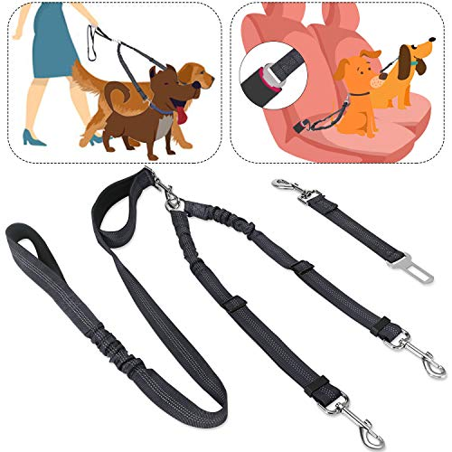 SlowTon 2 in 1 Double Dog Leash + Car Seat Belt, 360° Swivel Dual Dog Lead and Vehicle Safety Seat Belt with Elastic Bungee and Reflective Stripe for Two Pets