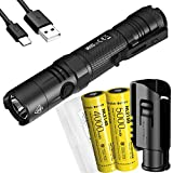 Nitecore MH10 v2 1200 Lumen USB-C Rechargeable EDC Flashlight with 2x Batteries, Hard Holster and LumenTac Case