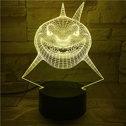Luz Decorativa De Noche Para Niños Dormitorio Infantil Buscando A Nemo Shark Bruce Multi Colores Alternando 3D Imaginable Lámpara Visual