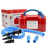 red birthday blowers - AlphaB-Designs -NEW- Premium Party-RED- Deluxe Portable Electric Balloon Blower Pump/Inflator, Dual Nozzle + Hose Extension; for Celebrations, Decorations, Party, Weddings, Birthday, Sport
