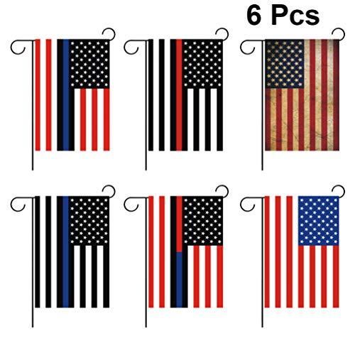 PRETYZOOM 6 Stks Amerikaanse Tuin Vlag Usa Vlag Werf Banner Amerikaanse Vlag Jute Outdoor Hek Tuin Veranda Decor Voor Usa Onafhankelijke Dag (6 Stijlen 1 St Elke Stijl)