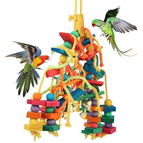 Keyohome Papagei Spielzeug Farbe Holz Perfekte Vogel Holz Spielzeug Vogel Seil Papagei Schaukel Natürliche Ungiftige Sichere Kauen, Gegen die Tägliche Langweilige Zeit, für Alle Papageien und Vogel
