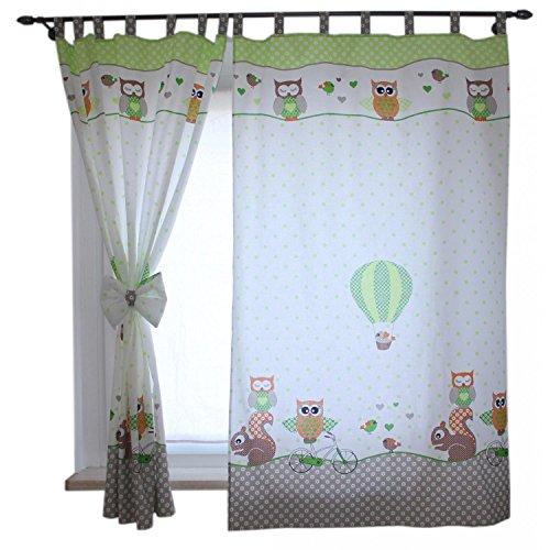 TupTam Kinderzimmer Vorhäng mit Schleifen 2er Set, Farbe: Eulen 2 Grün, Größe: ca. 155x95 cm