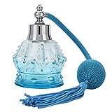 Frasco de perfume Frascos atomizadores de perfume de moda con borla azul, Frasco rociador vintage con bomba rociadora, 80 ml