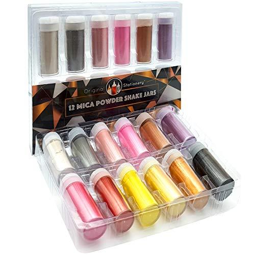 Original Stationery Mica Powder Pearl Pigment - 12er-Pack [Geschenkset mit unglaublichen Farben] - Metallic-Farbset - Wunderschöne Seifenherstellung für Glimmer, Slime, Badebomben, Make-up, Nägel