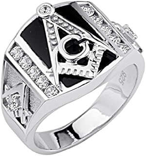 Mens 925 Sterling Silver Polished Rhodium CZ Cubic Zirconia Embossed Masonic Ring