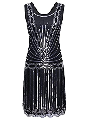 PrettyGuide Women 1920s Gatsby Downton Art Deco Sequin Inspired Flapper Dress