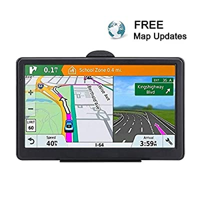 7 Inch GPS Navigation for Car Truck 2020 Americas Map Free Lifetime Map Update Includes Postcodes& POI Speed Cam Alerts Lane Assist Guidance