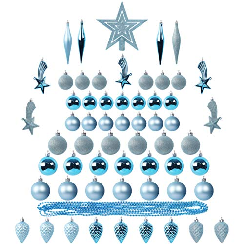 Blissun Christmas Ball Ornaments, 90ct Christmas Ornaments for Christmas Trees, Shatterproof Christmas Decorations Ornaments Set for Xmas Tree Decorations, Xmas Holiday Party Hanging Ball, Blue